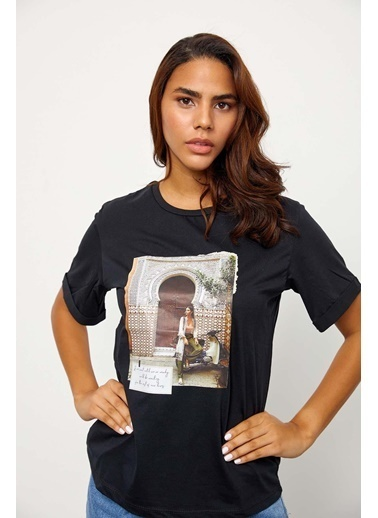 Setre Siyah Kısa Kol Baskılı T-Shirt Siyah